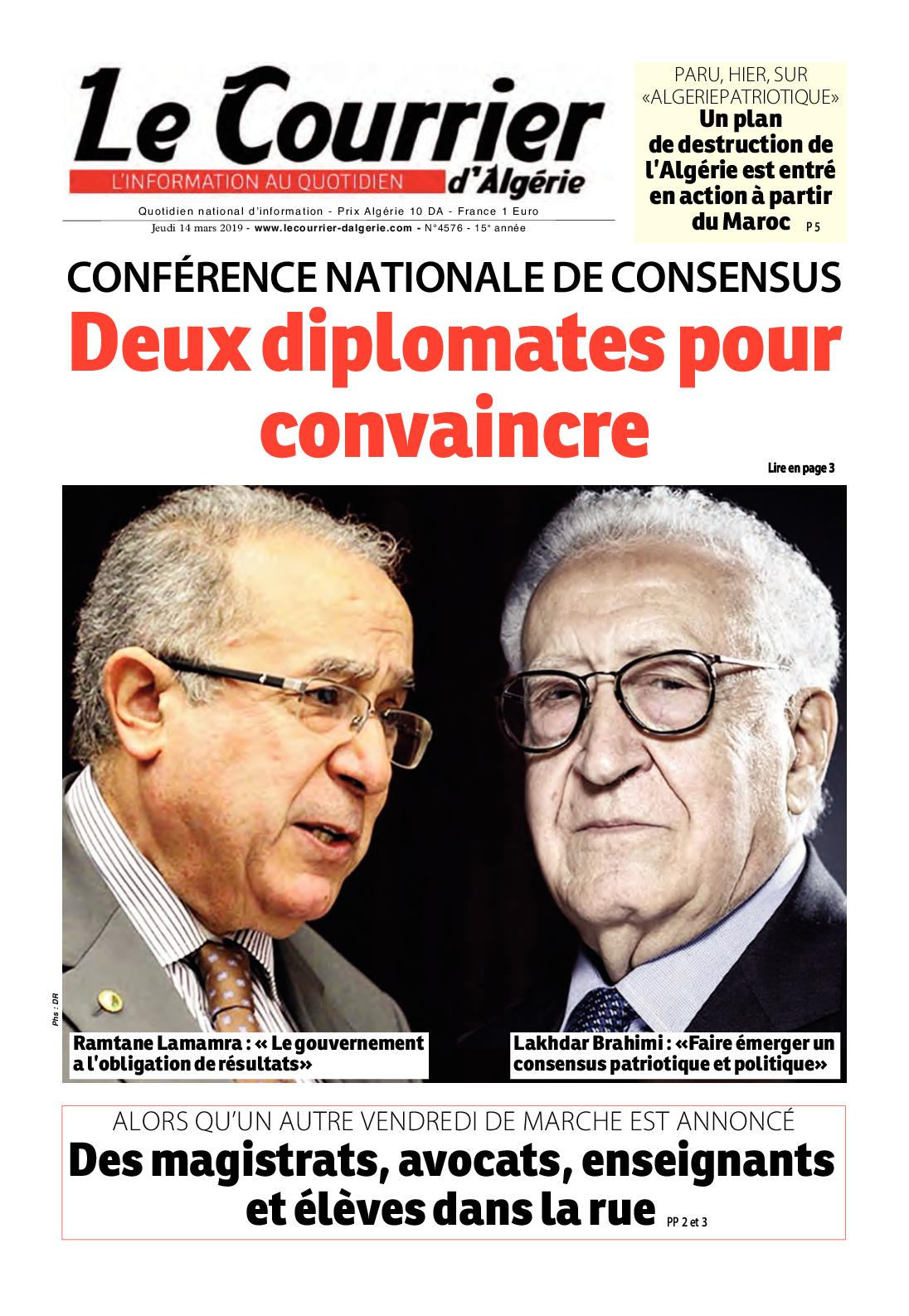 Le Courrier d'Algérie du jeudi 14 mars 2019