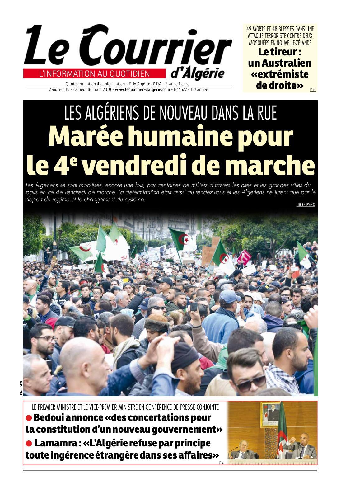 Le Courrier d'Algérie du samedi 16 mars 2019