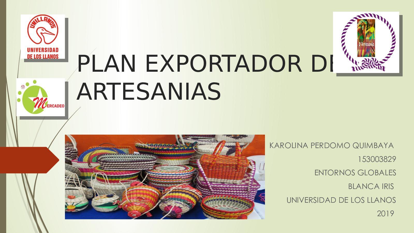 Plan Exportador De Artesanias