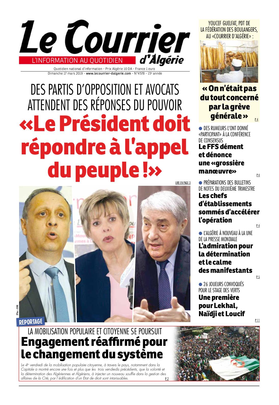 Le Courrier d'Algérie du dimanche 17 mars 2019