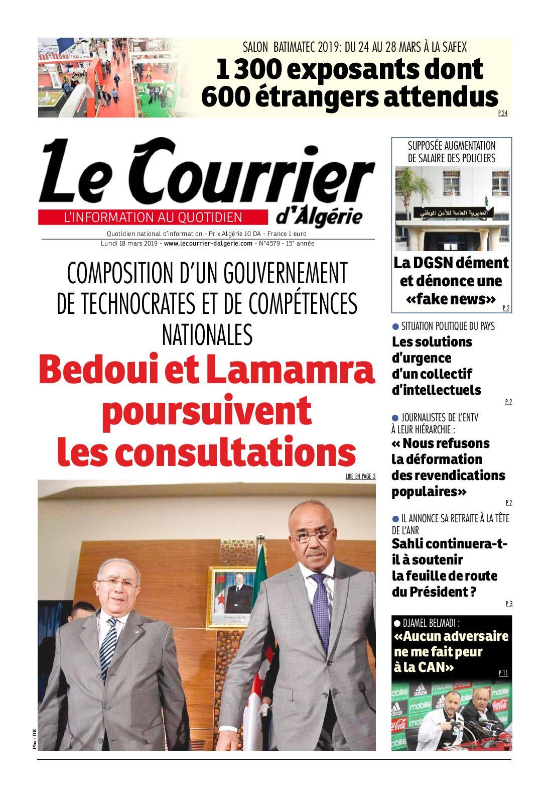 Le Courrier d'Algérie du lundi 18 mars 2019