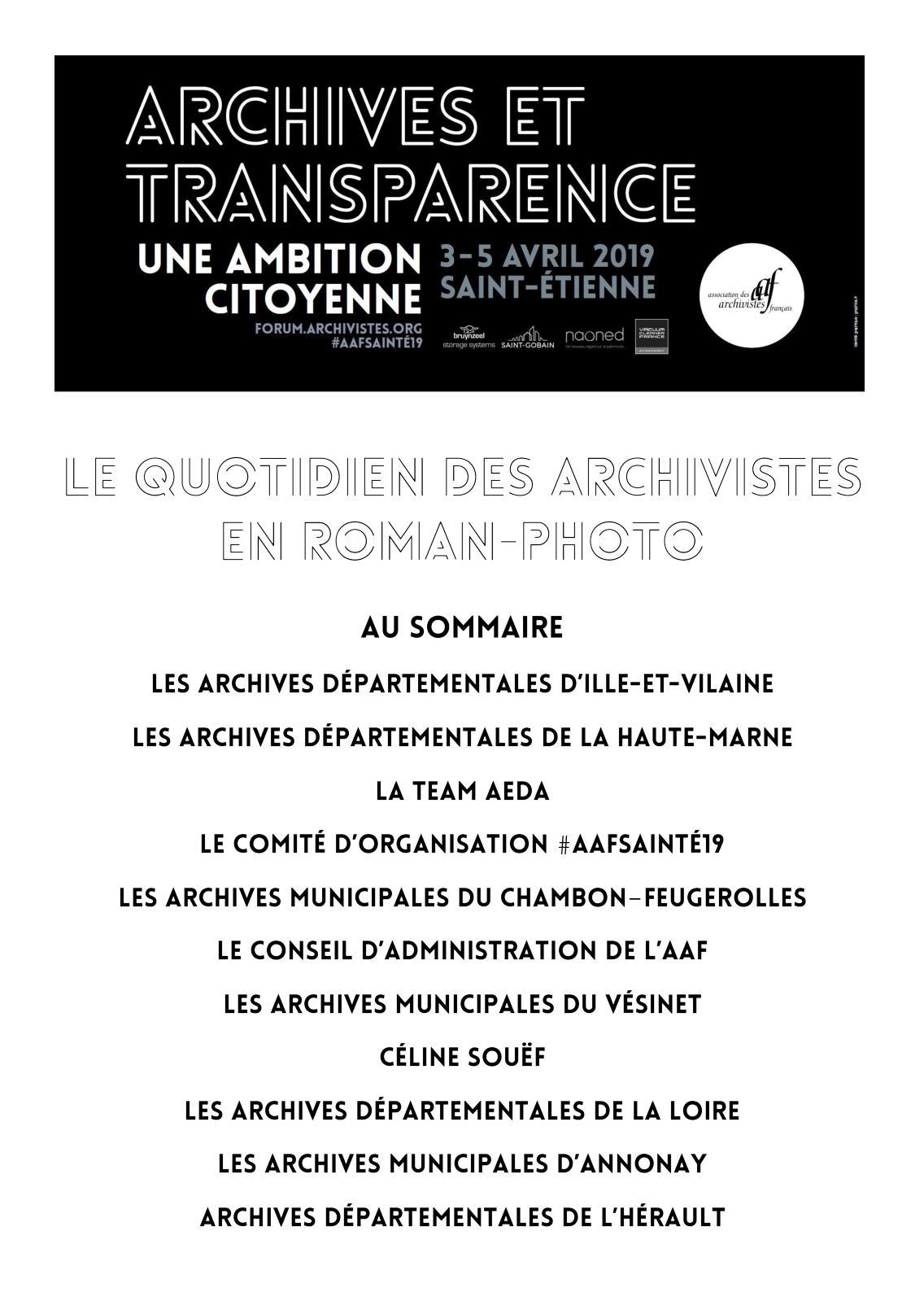 #AAFSaintÉ19 – Le quotidien des archivistes en roman-photo