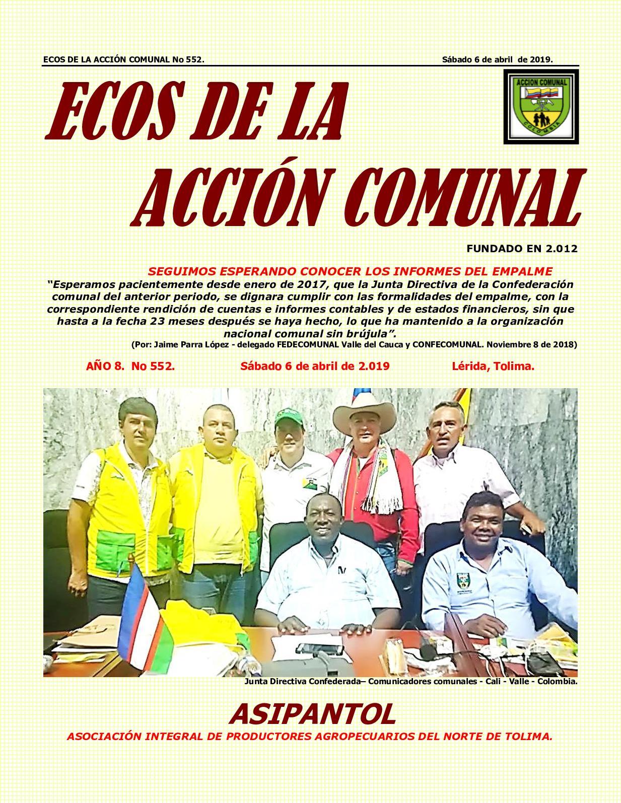 Ecos De La Accion Comunal No 552 Sábado 6 De Abril De 2019