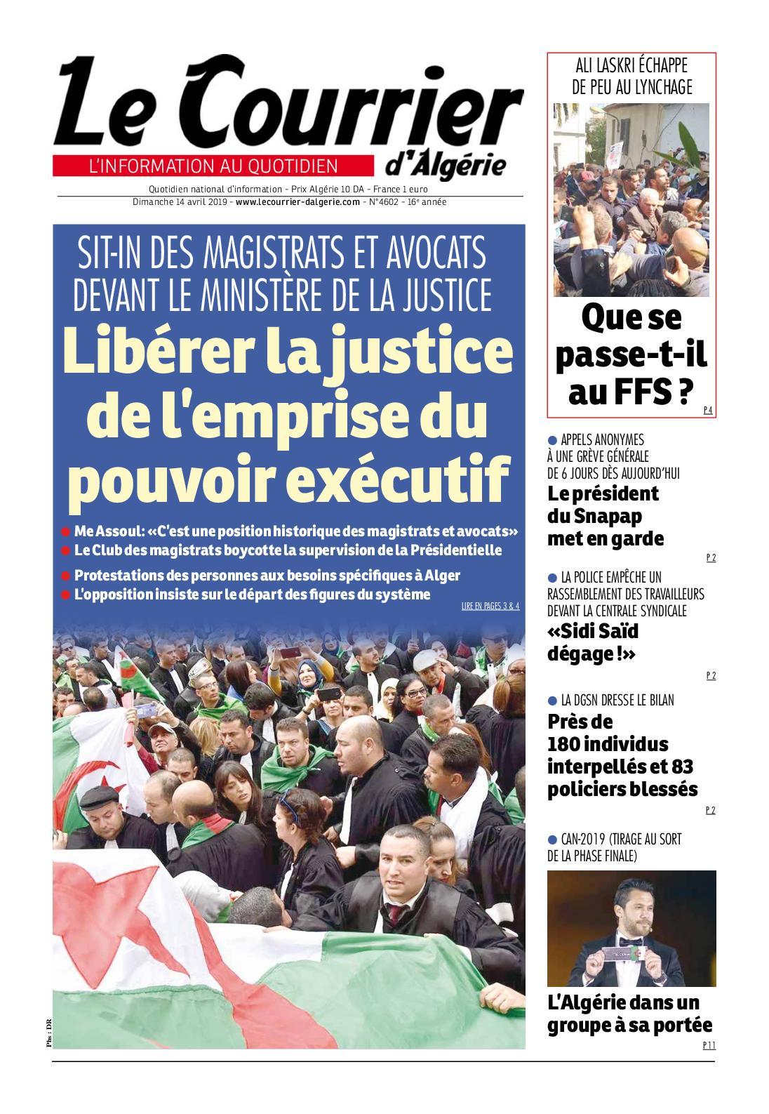 Le Courrier d'Algérie du dimanche 14 avril 2019
