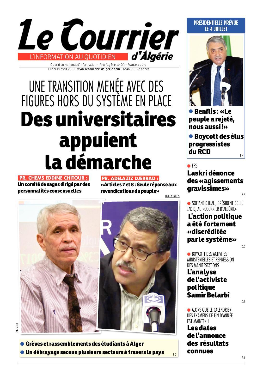 Le Courrier d'Algérie du lundi 15 avril 2019