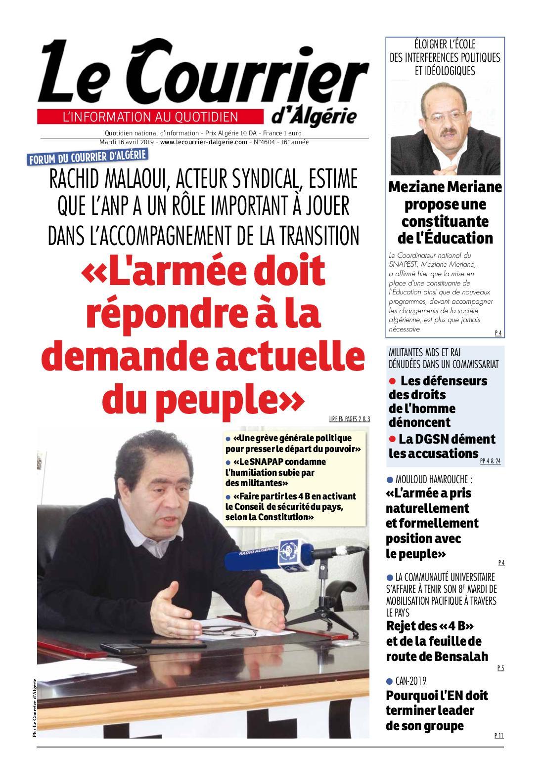 Le Courrier D'algérie Du Mardi 16 Avril 2019
