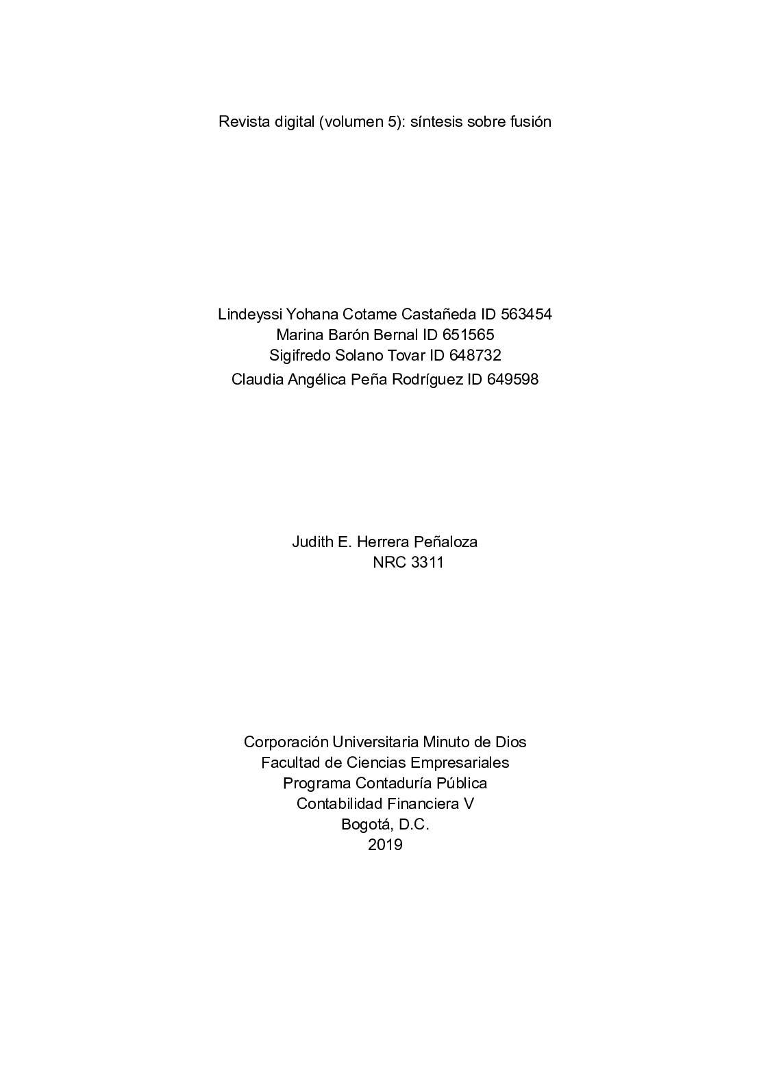 Revista Digital Volumen 5 Síntesis Sobre Fusión