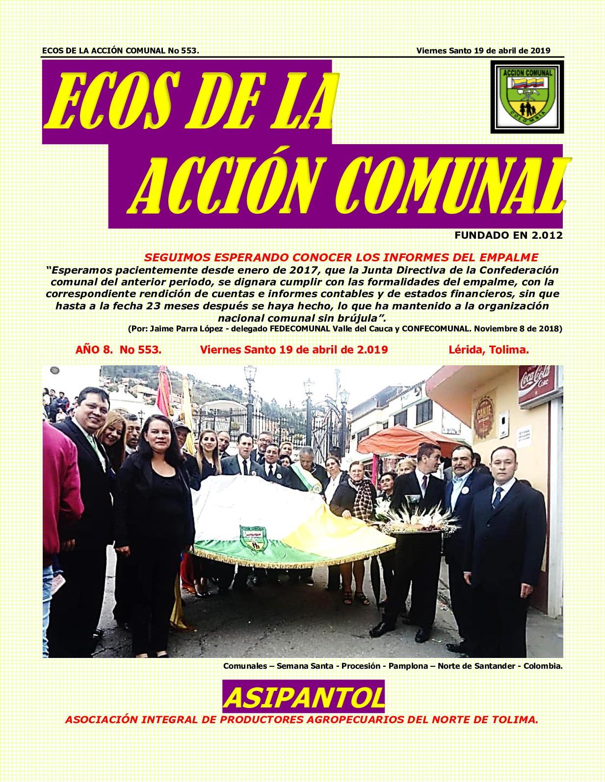 Ecos De La Acción Comunal No 553 Viernes Santo 19 De Abril De 2019