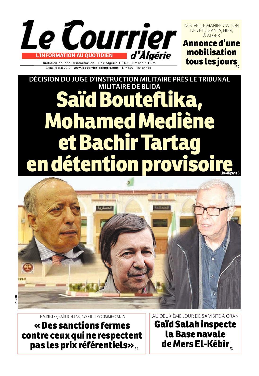 Le Courrier D'Algérie Du 06 Mai 2019