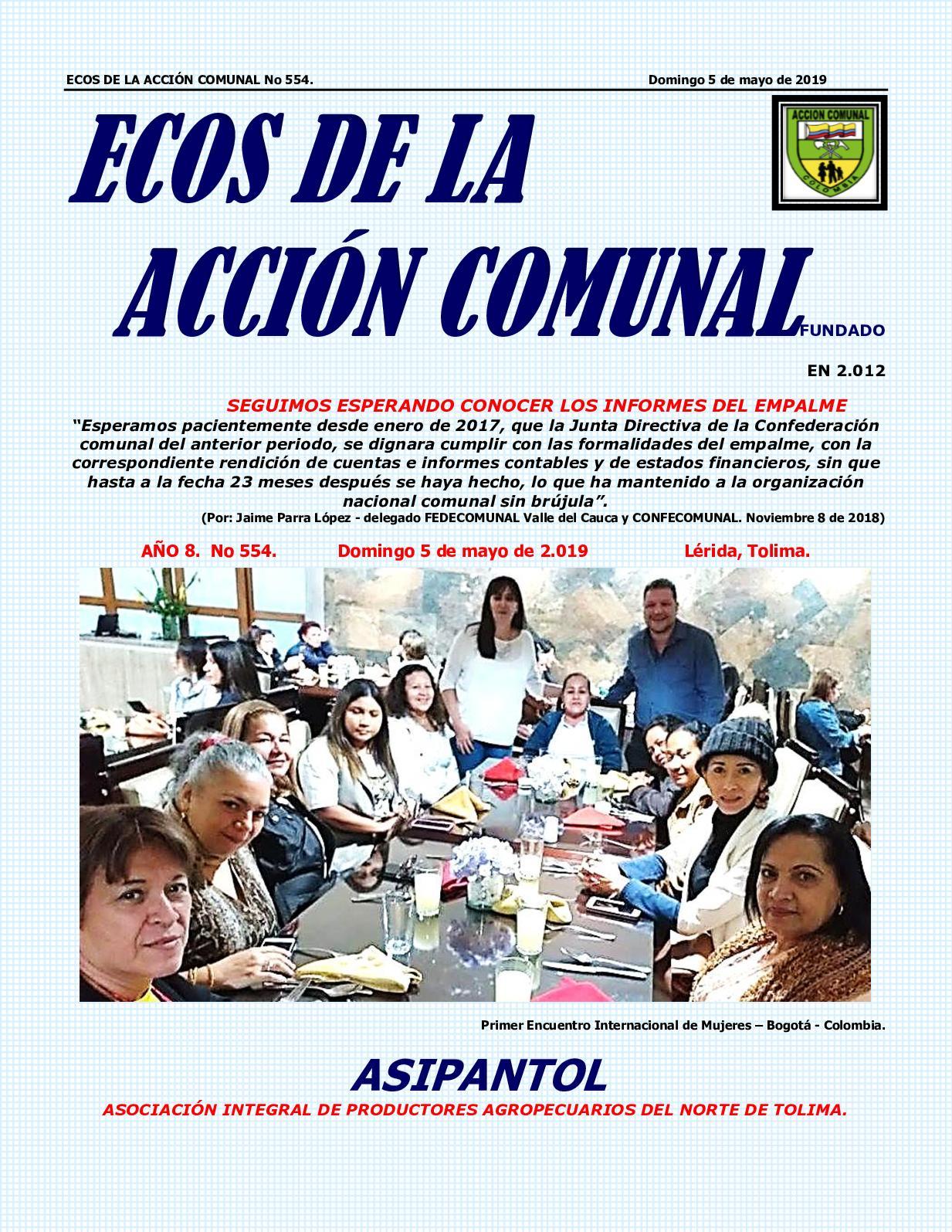 Ecos De La Acción Comunal No 554, Domingo 5 De Mayo De 2019