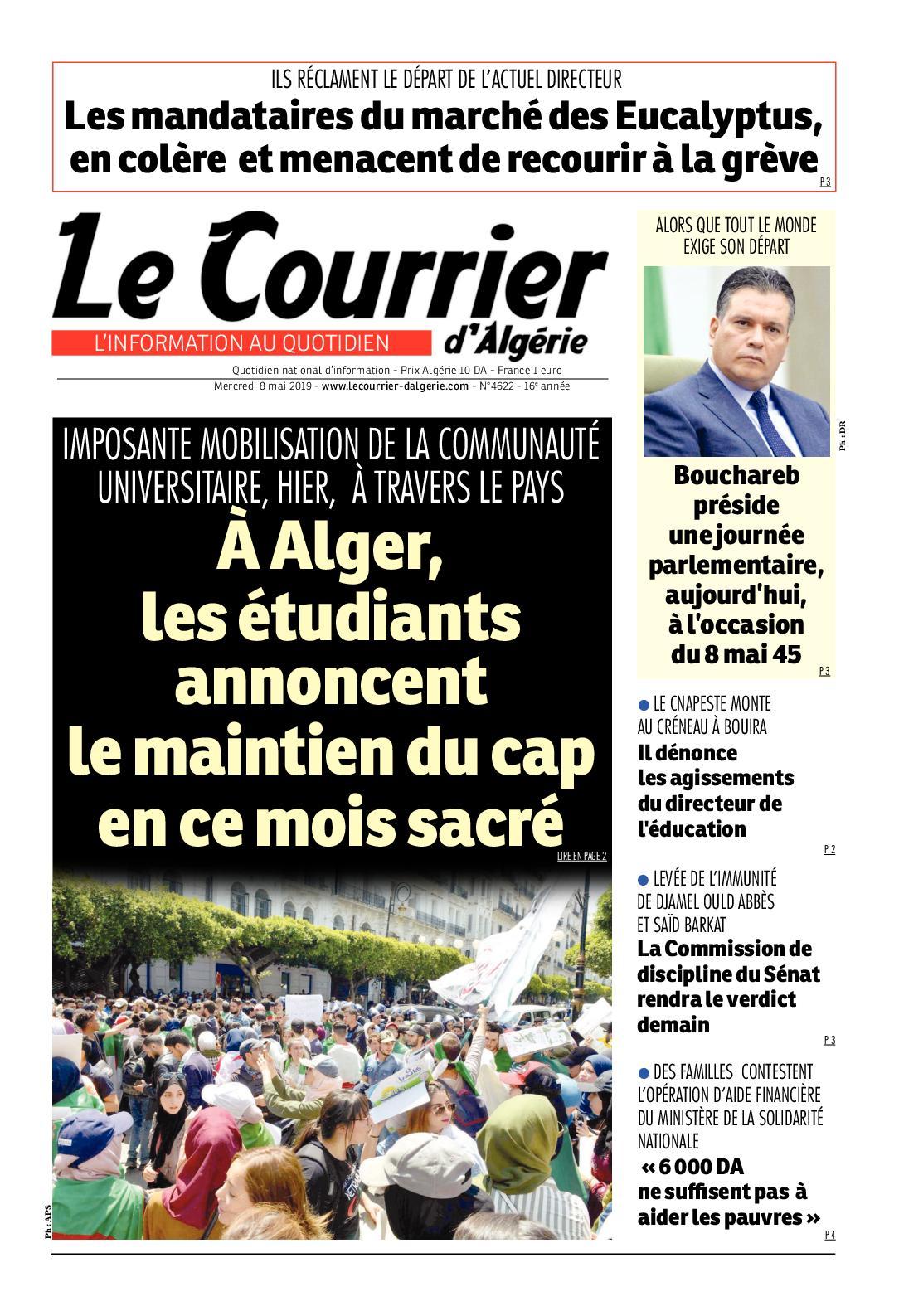 Le Courrier d'Algérie du mercredi 8 mai 2019