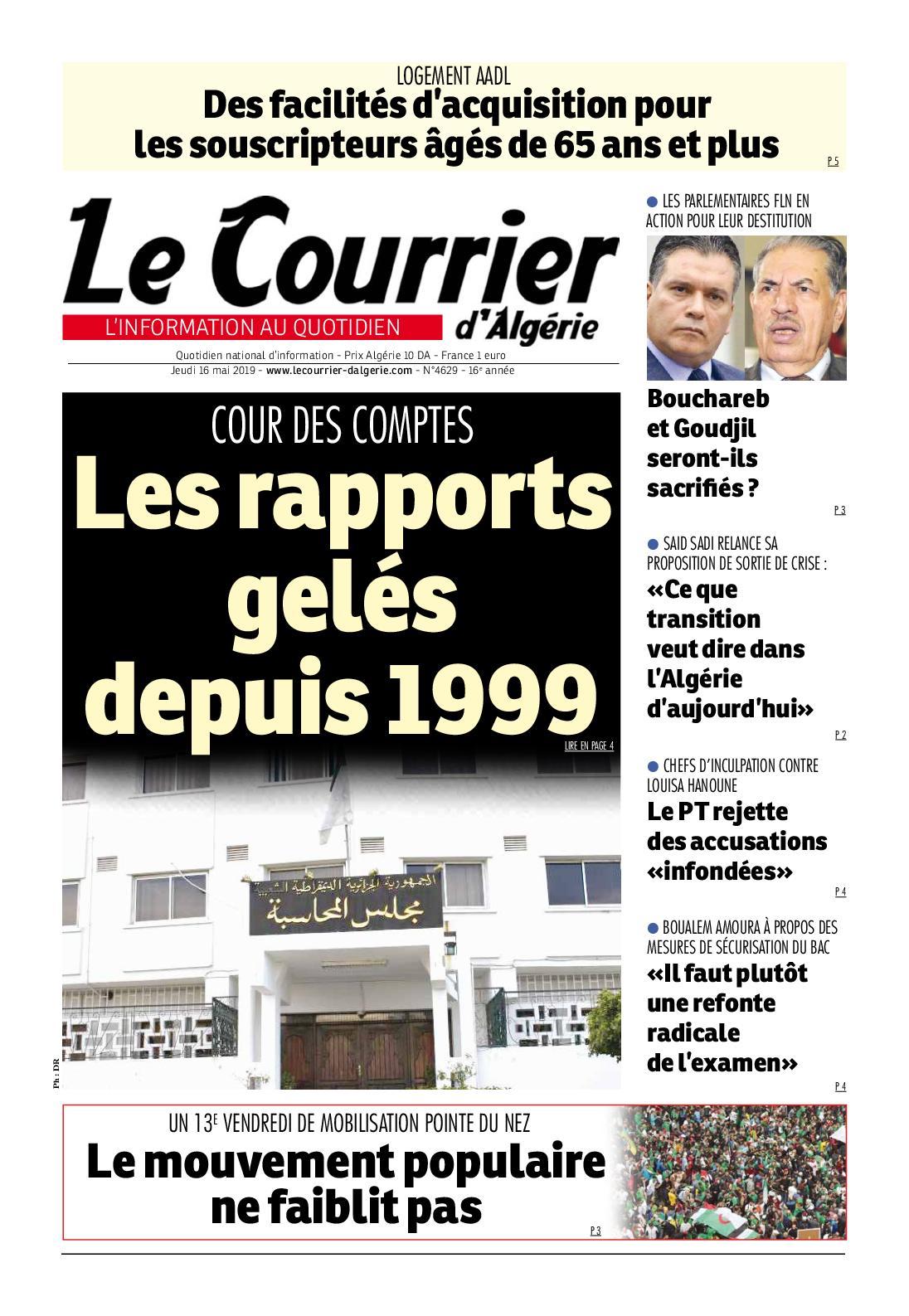 Le Courrier d'Algérie du jeudi 16 mai 2019