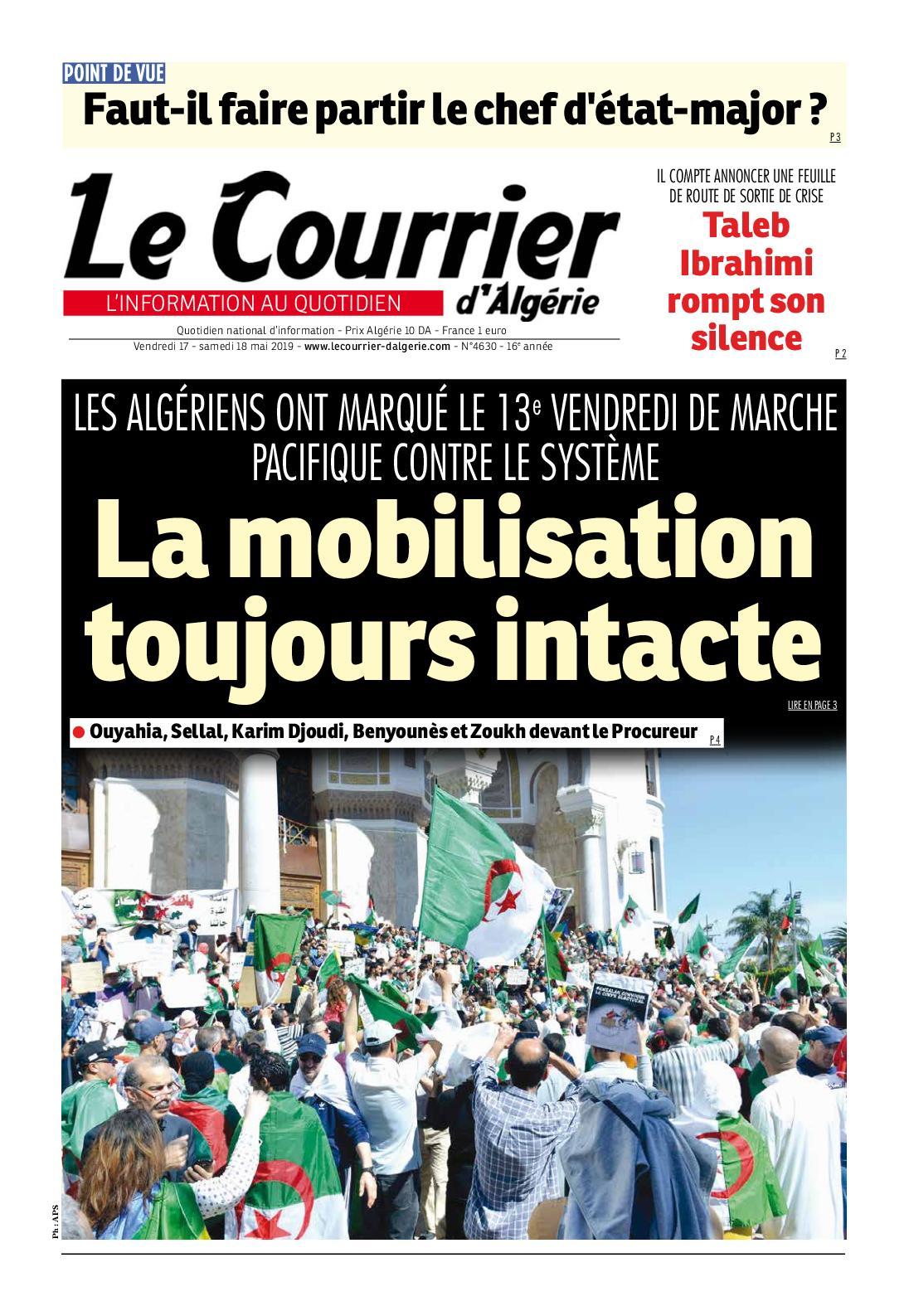 Le Courrier d'Algérie du samedi 18 mai 2019