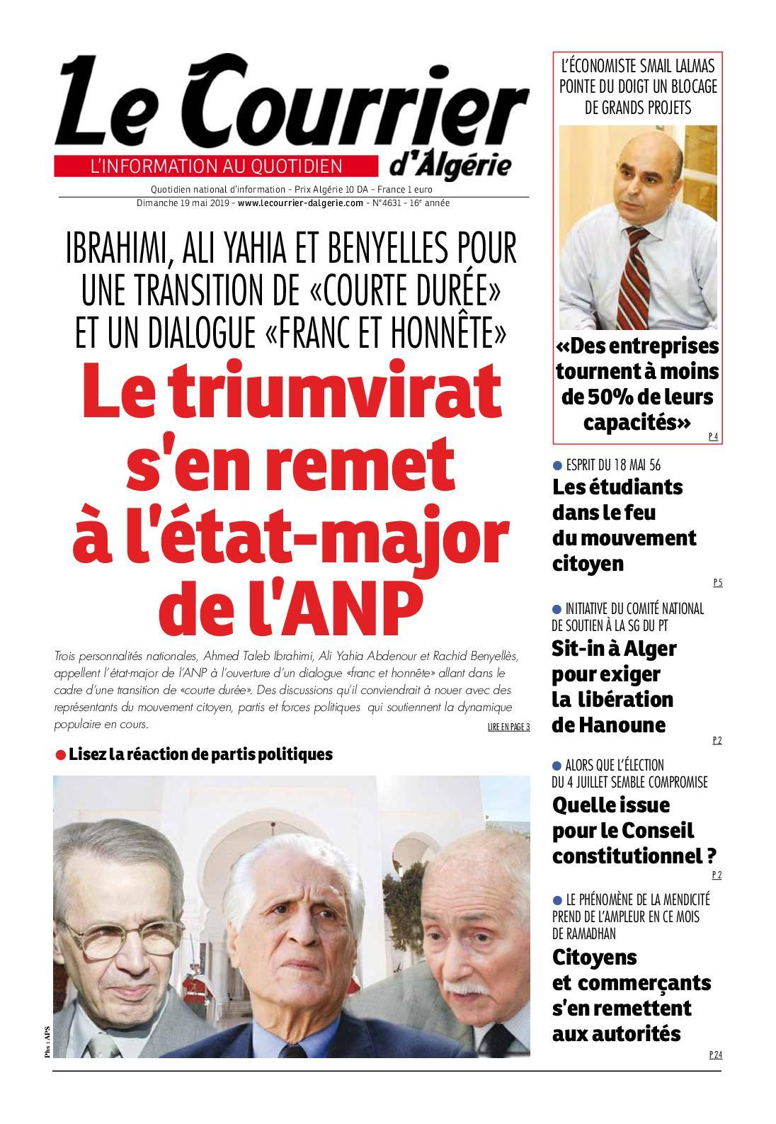 Le Courrier d'Algérie du dimanche 19 mai 2019