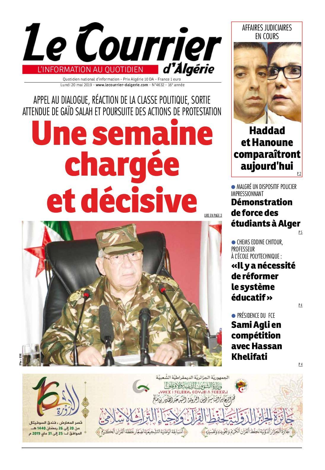 Le Courrier d'Algérie du lundi 20 mai 2019