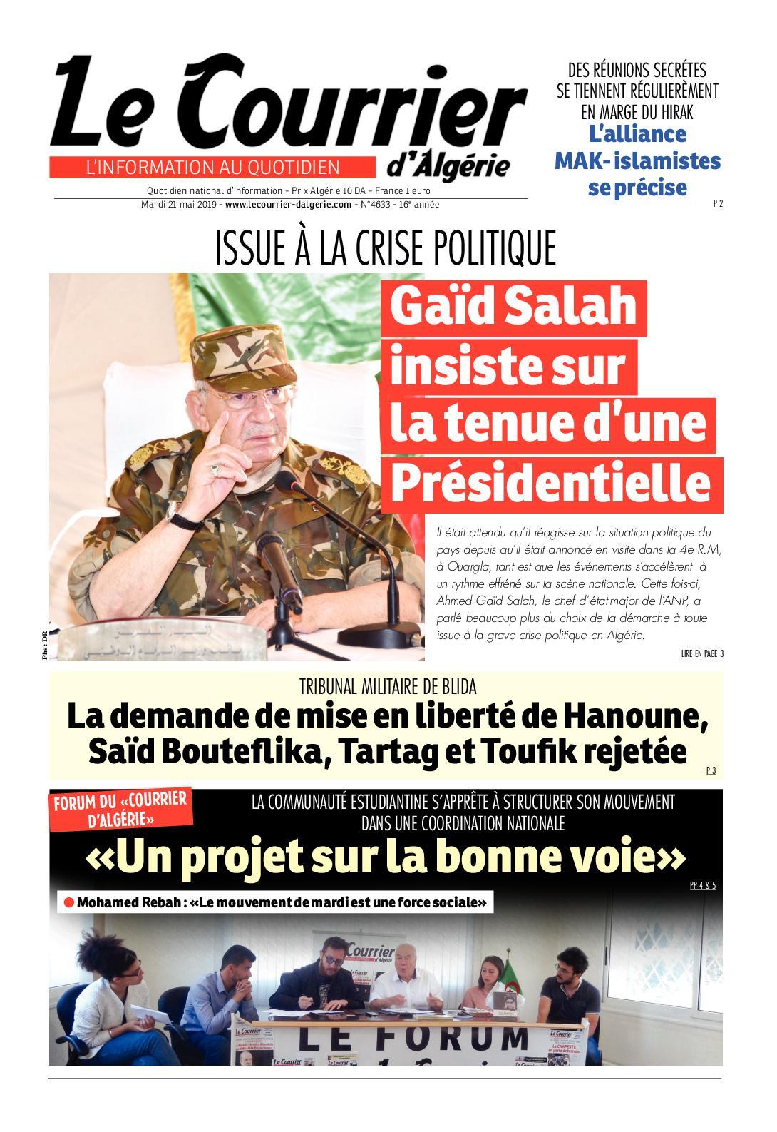 Le Courrier d'Algérie du mardi 21 mai 2019