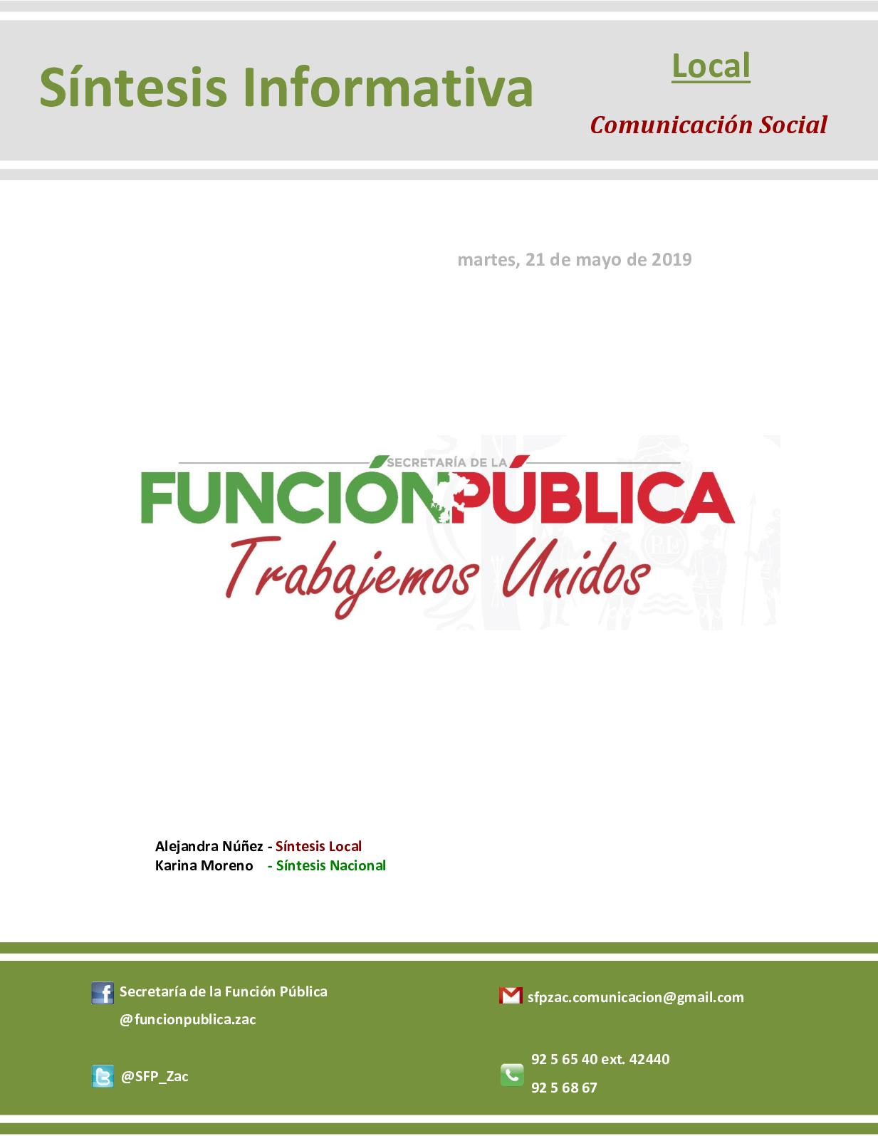 Síntesis Local-Nacional de Comunicación Social de la SFP 21-05-2019