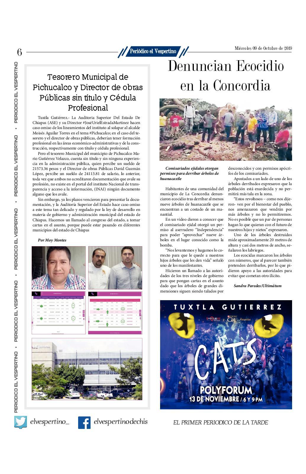 Periodico El Vespertino No 1187