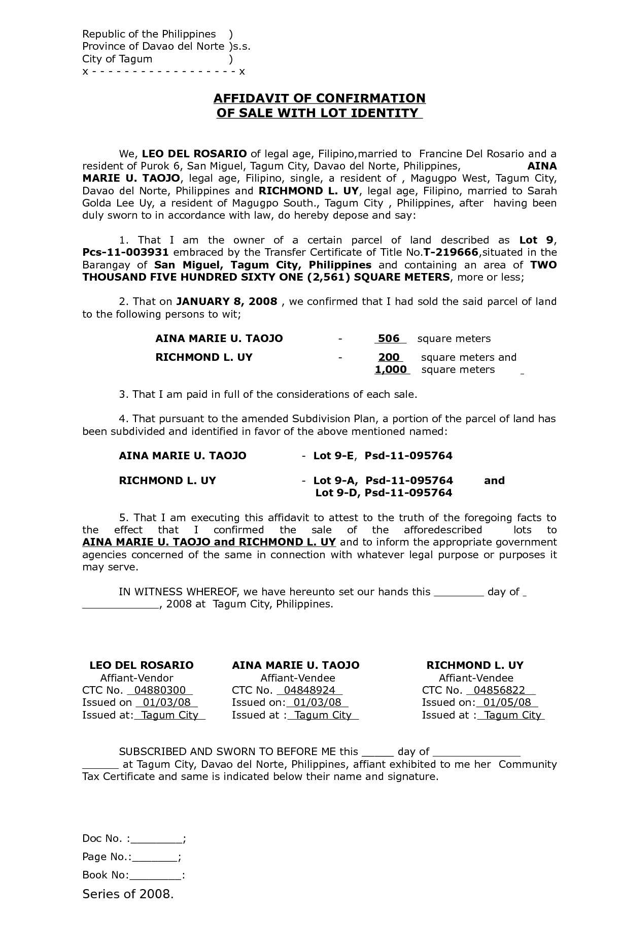 Calam 233 O Affidavit Of Confirmation Of Sale With Lot