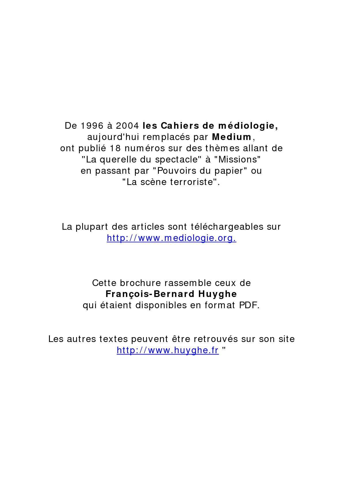 Calaméo Fb Huyghe Textes Médiologiques