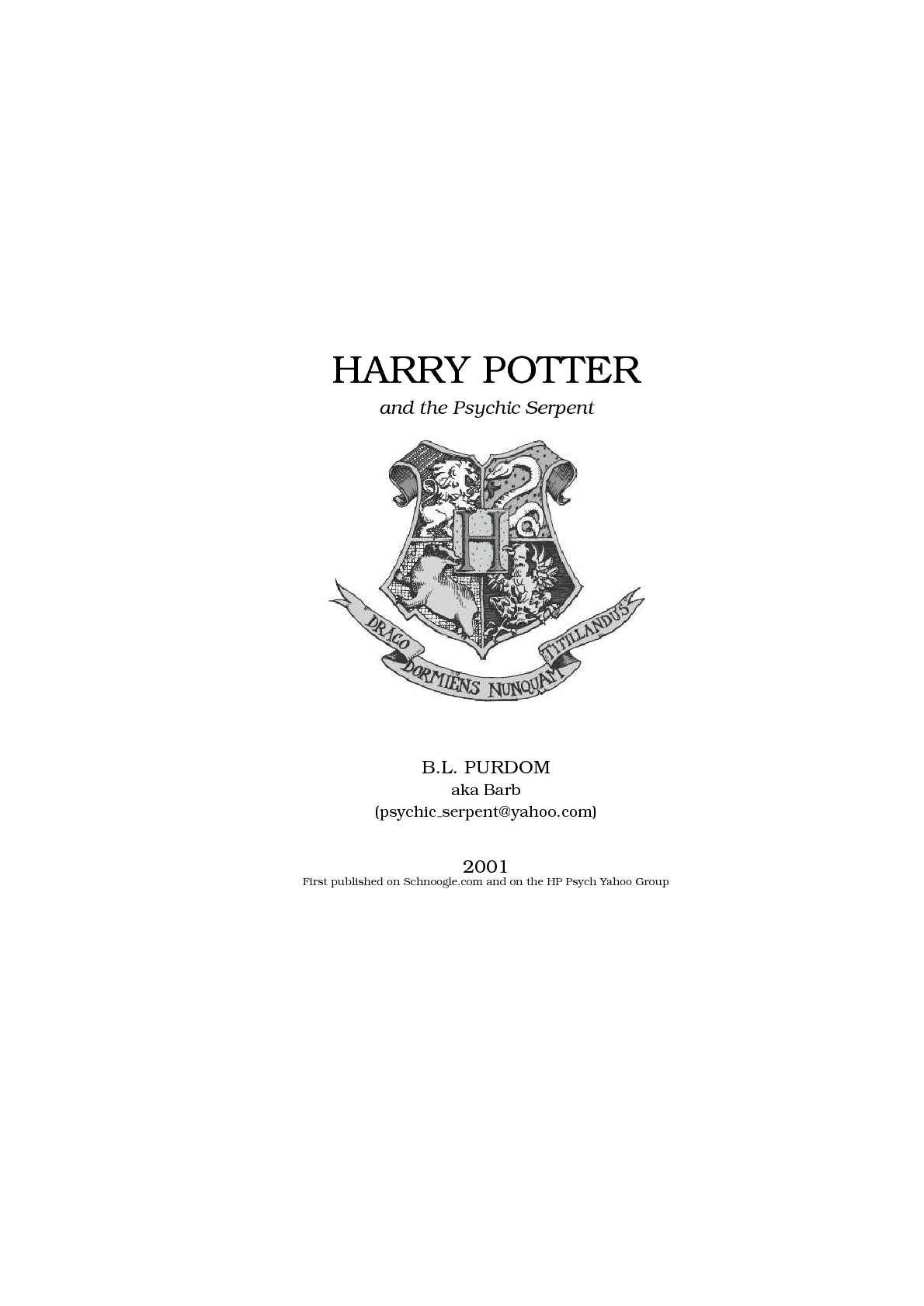 Calaméo - Fanfiction Harry Potter and the Psychic Serpent
