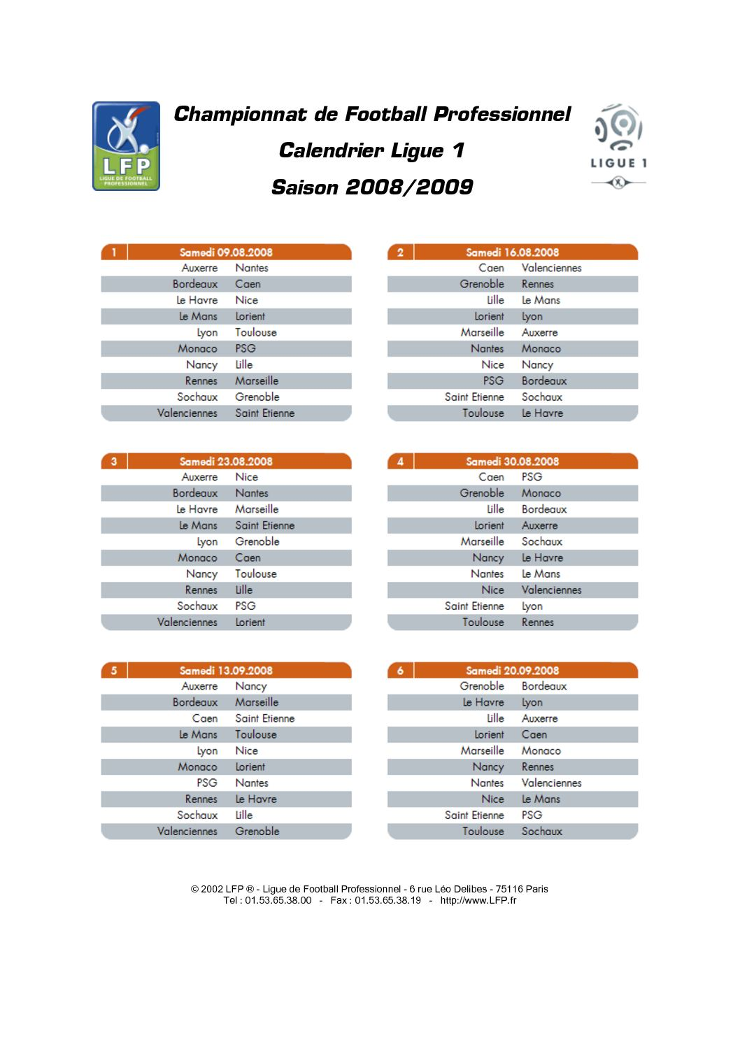 Foot Calendrier Ligue 1.Calameo Calendrier Ligue 1 2008 2009