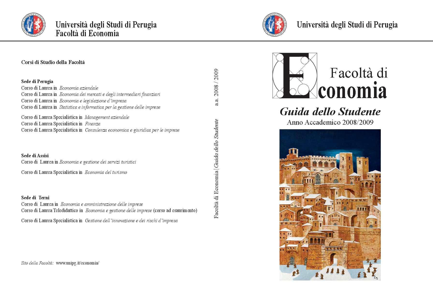 Calendario Esami Unipg Economia.Calameo Guida Dello Studente 2008 2009 Facolta Di