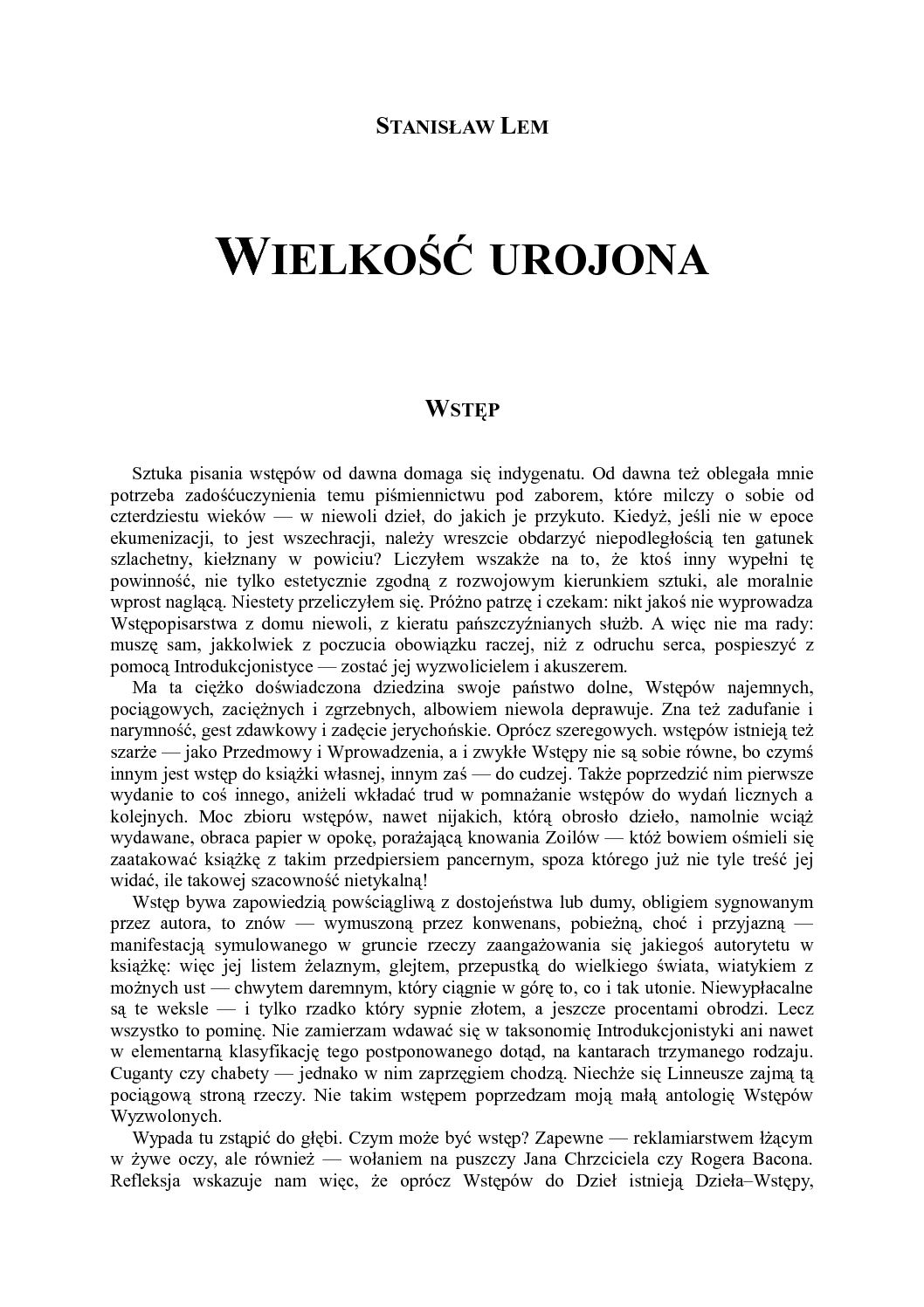 Calaméo Wielkość Urojona Stanisław Lem