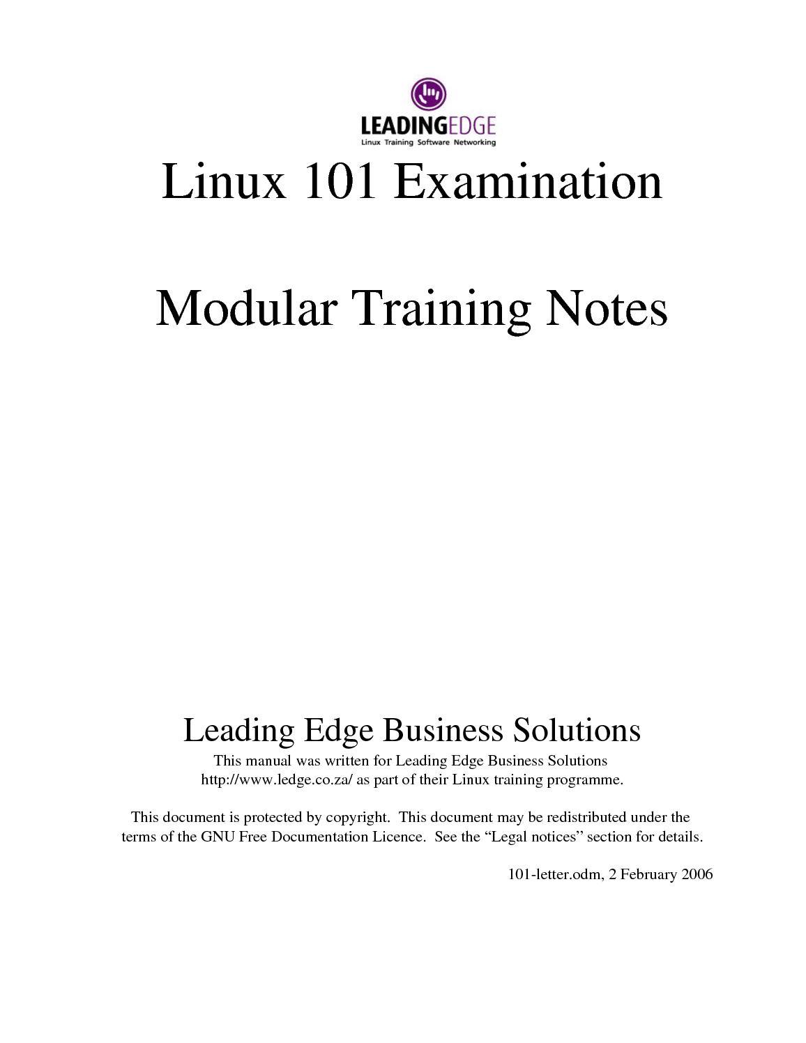 Calaméo - Linux 101 Examination Modular Training Notes