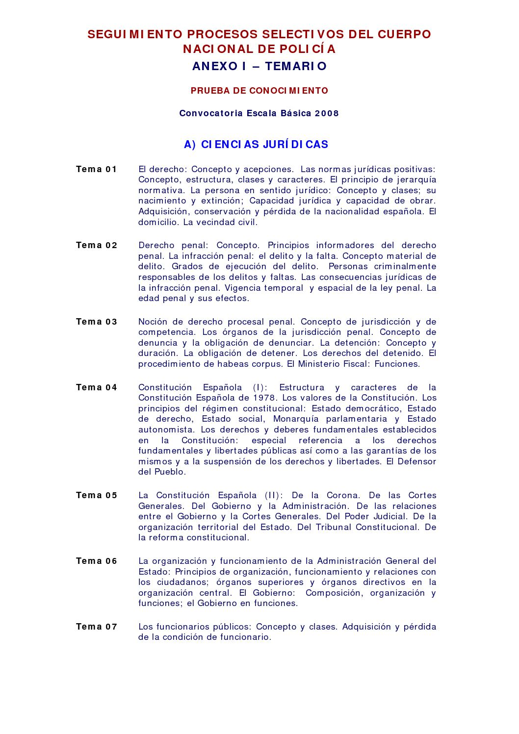 Calaméo Temario Policia Nacional