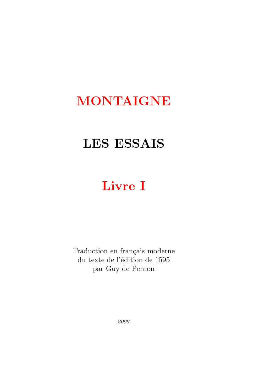 Calaméo Montaigne Les Essais Livre I Pdf