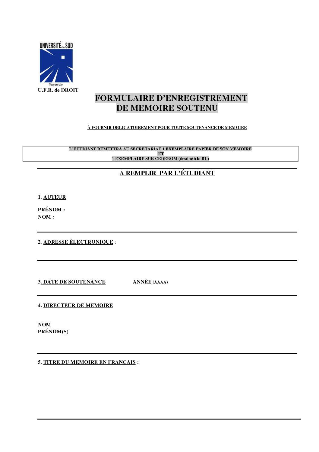 Calameo Formulaire De Depot De Votre Memoire De Master B U Droit Toulon