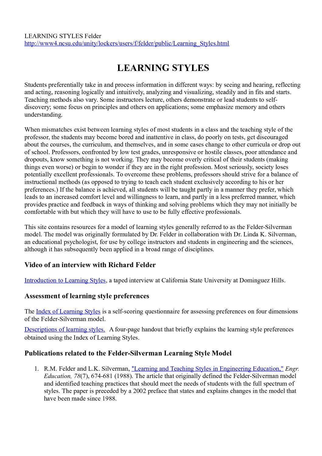 Calaméo - Artigo - - Learning Styles - FELDER
