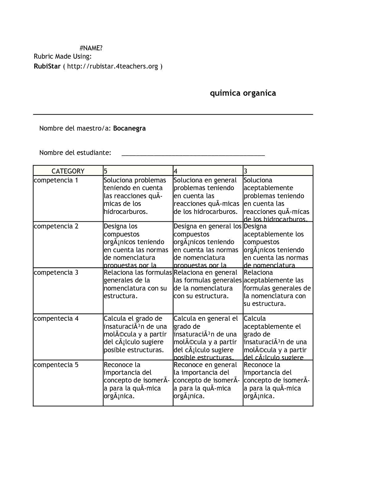 Rubrica Quimica Organica. Folkenberg Bocanegra Aragon