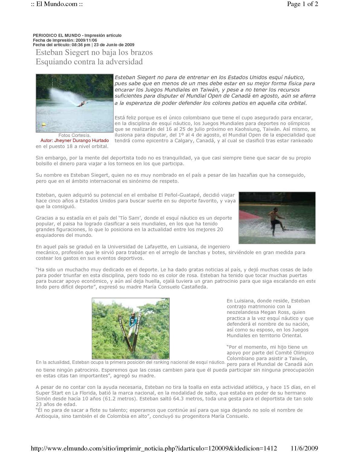 Calameo Periodico El Mundo Esteban Siegert Esquiando Contra La