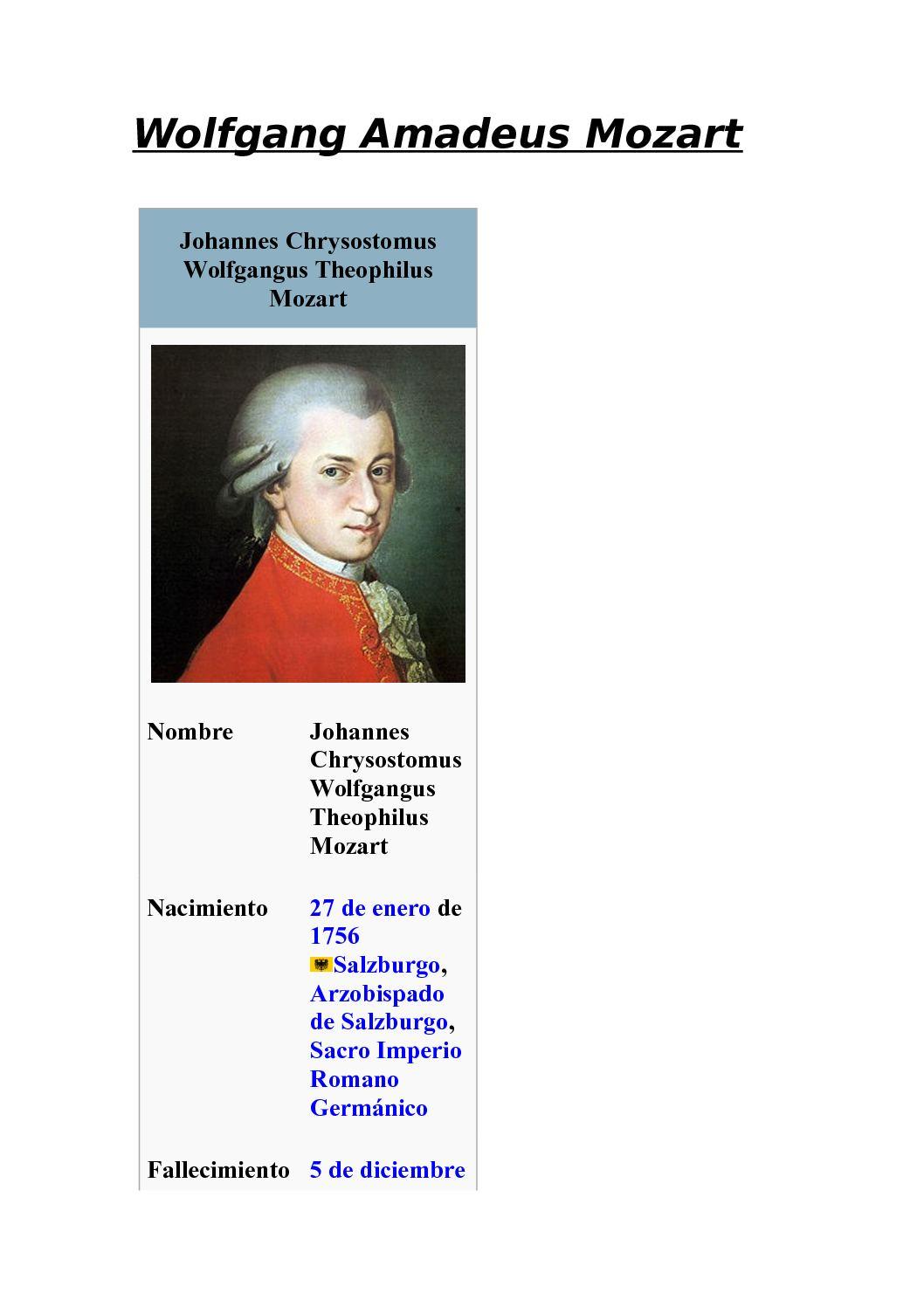 Calaméo Mozart Vida Y Obra