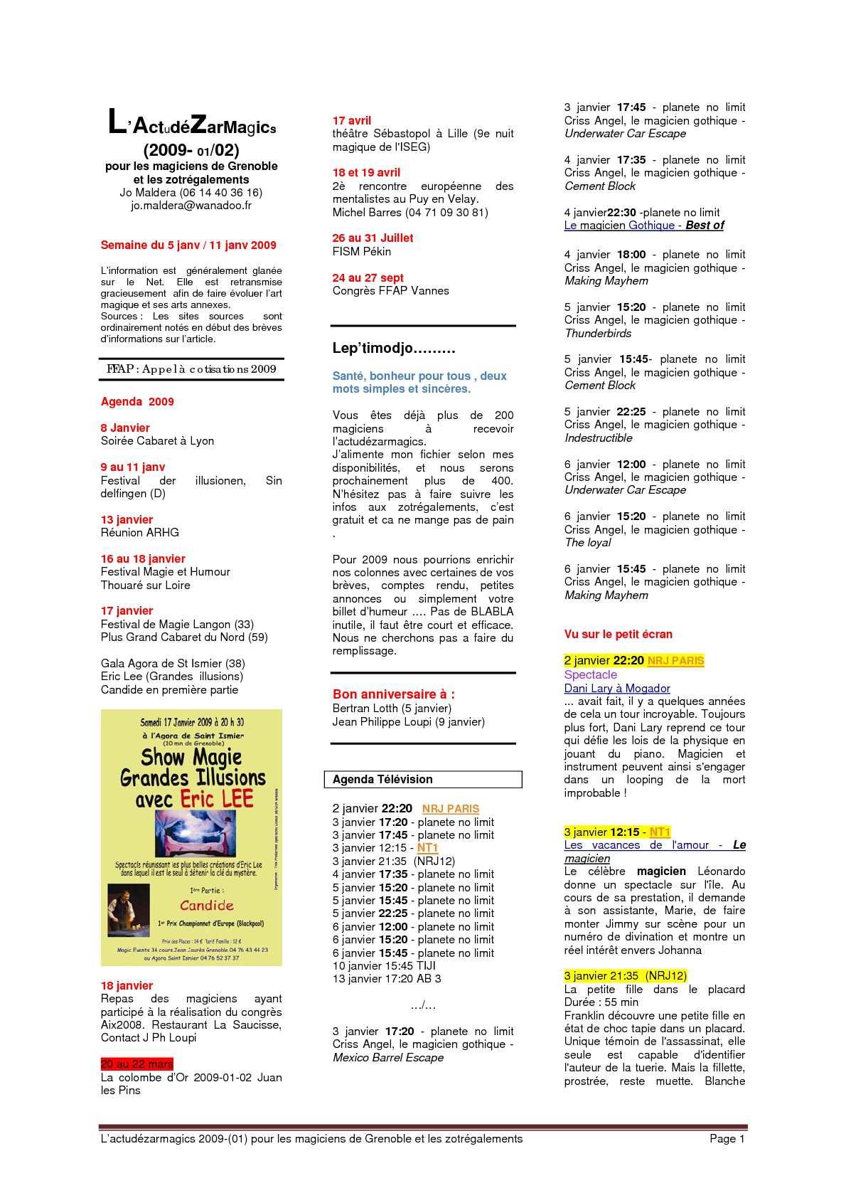 Menu Reveillon De Noel Cora.Calameo 2009 Actu Des Arts Magiques Annee 2009 N 1 A 50