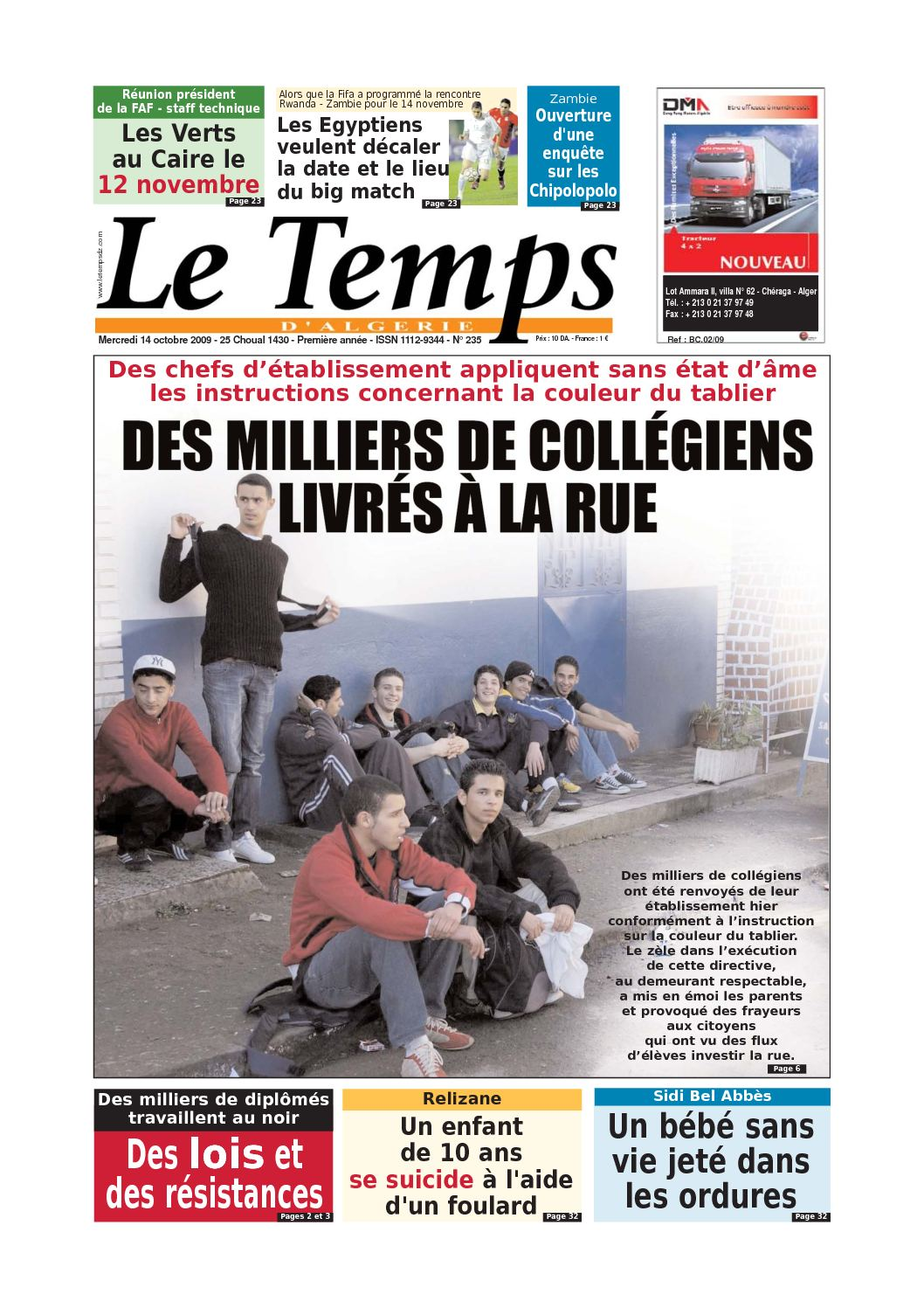 ecde0d26523ea5 Calaméo - Le Temps d'Algérie www.letempsdz.com édition du 14 octobre2009