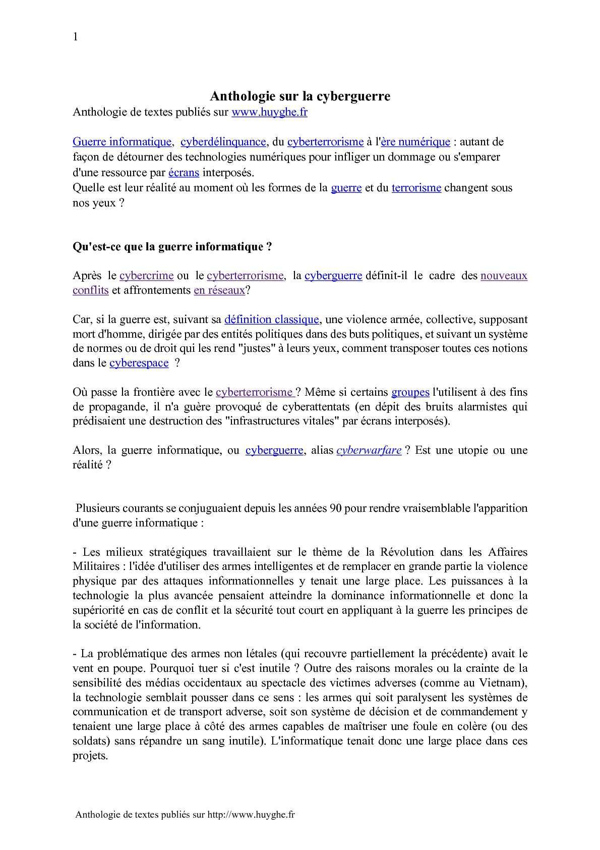 Cyberattaques : guerre, crime, terrorisme sur www.huyghe.fr