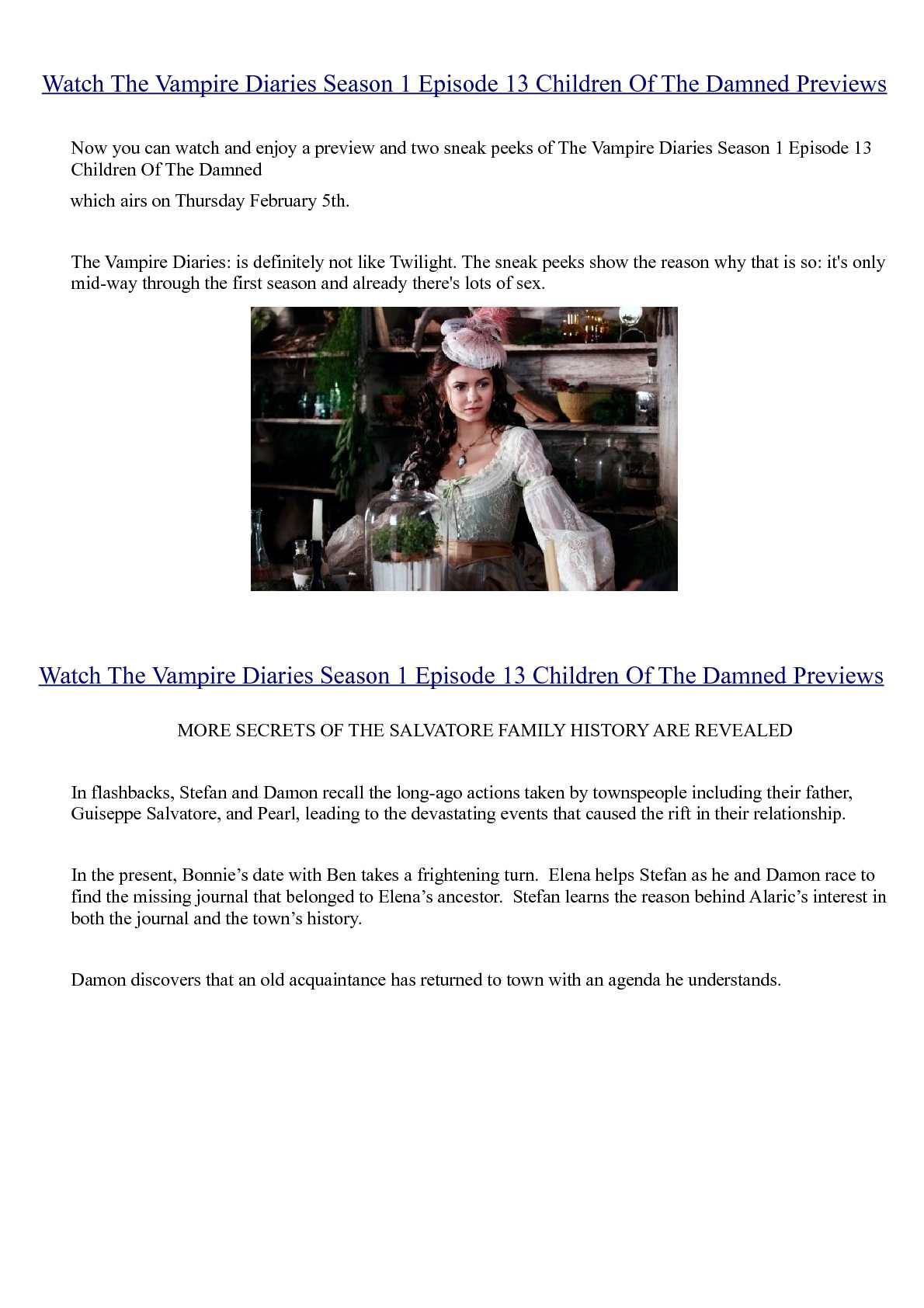 Calaméo - Watch The Vampire Diaries Season 1 Episode 13 Children Of