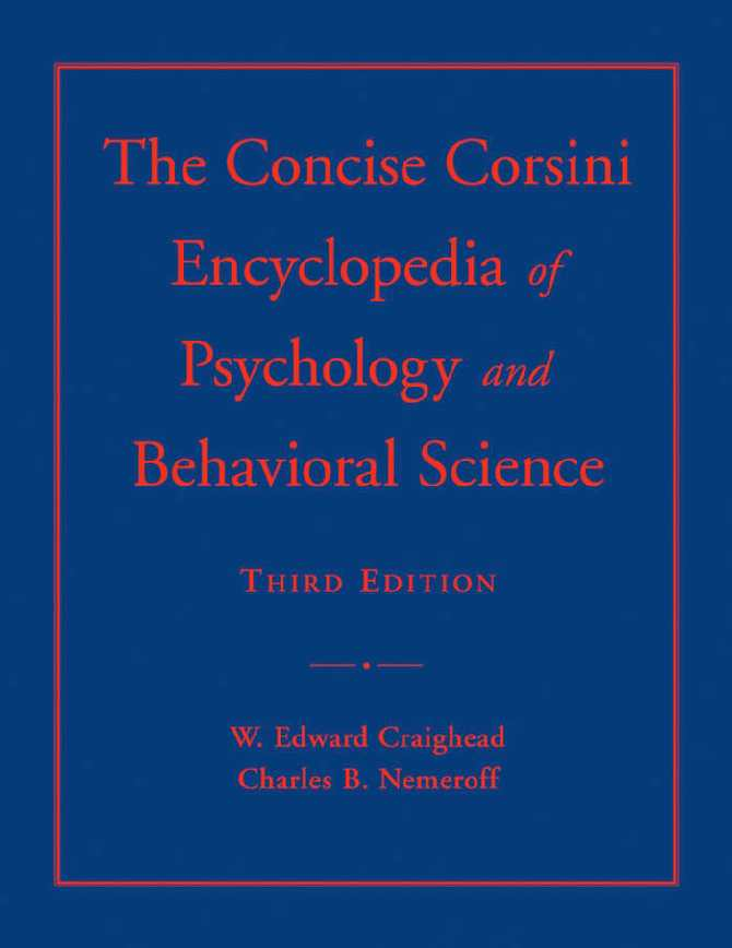 Calam O The Concise Corsini Encyclopedia Of Psychology And