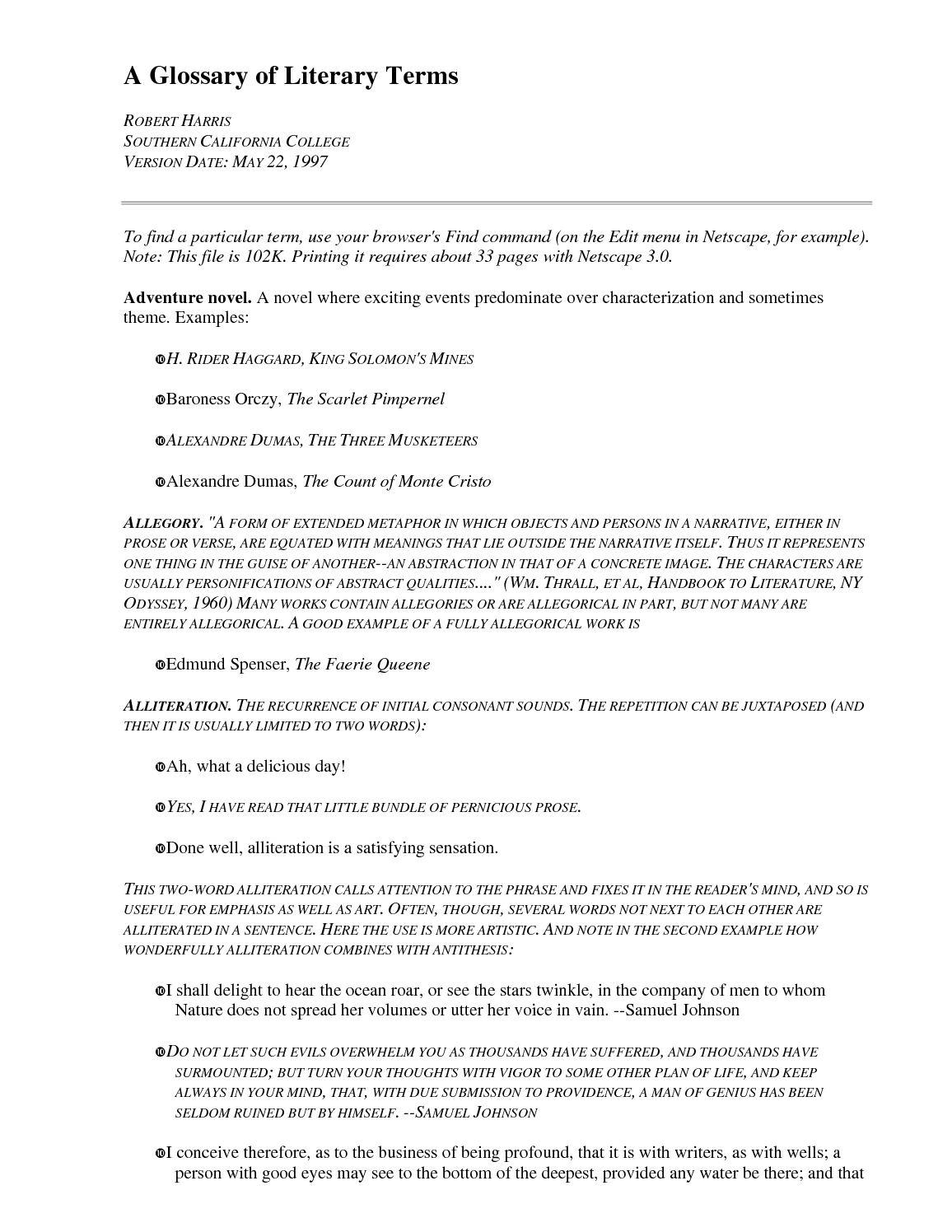 Calameo Literary Terms