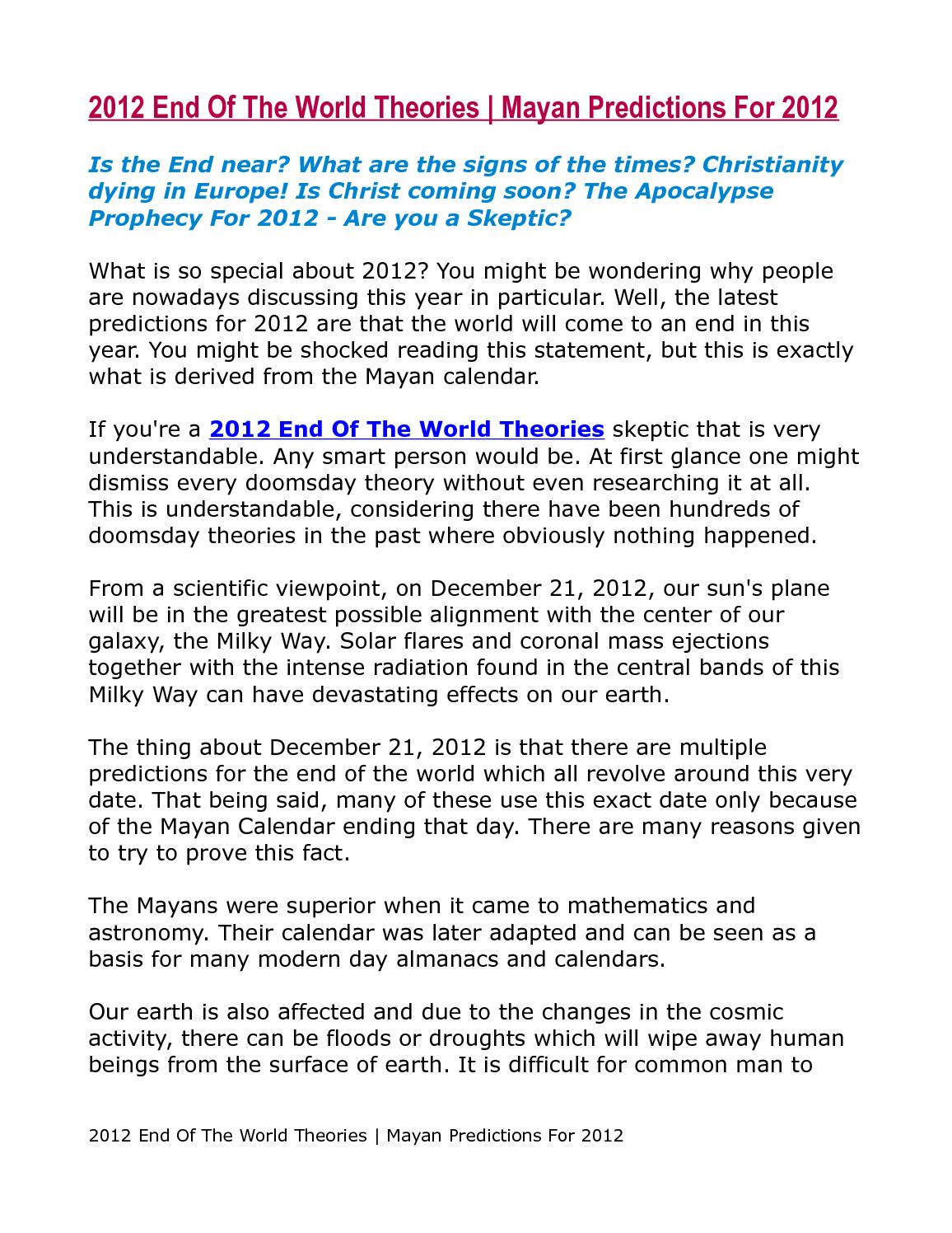 Calaméo - 2012 End Of The World Theories | Mayan Predictions For 2012