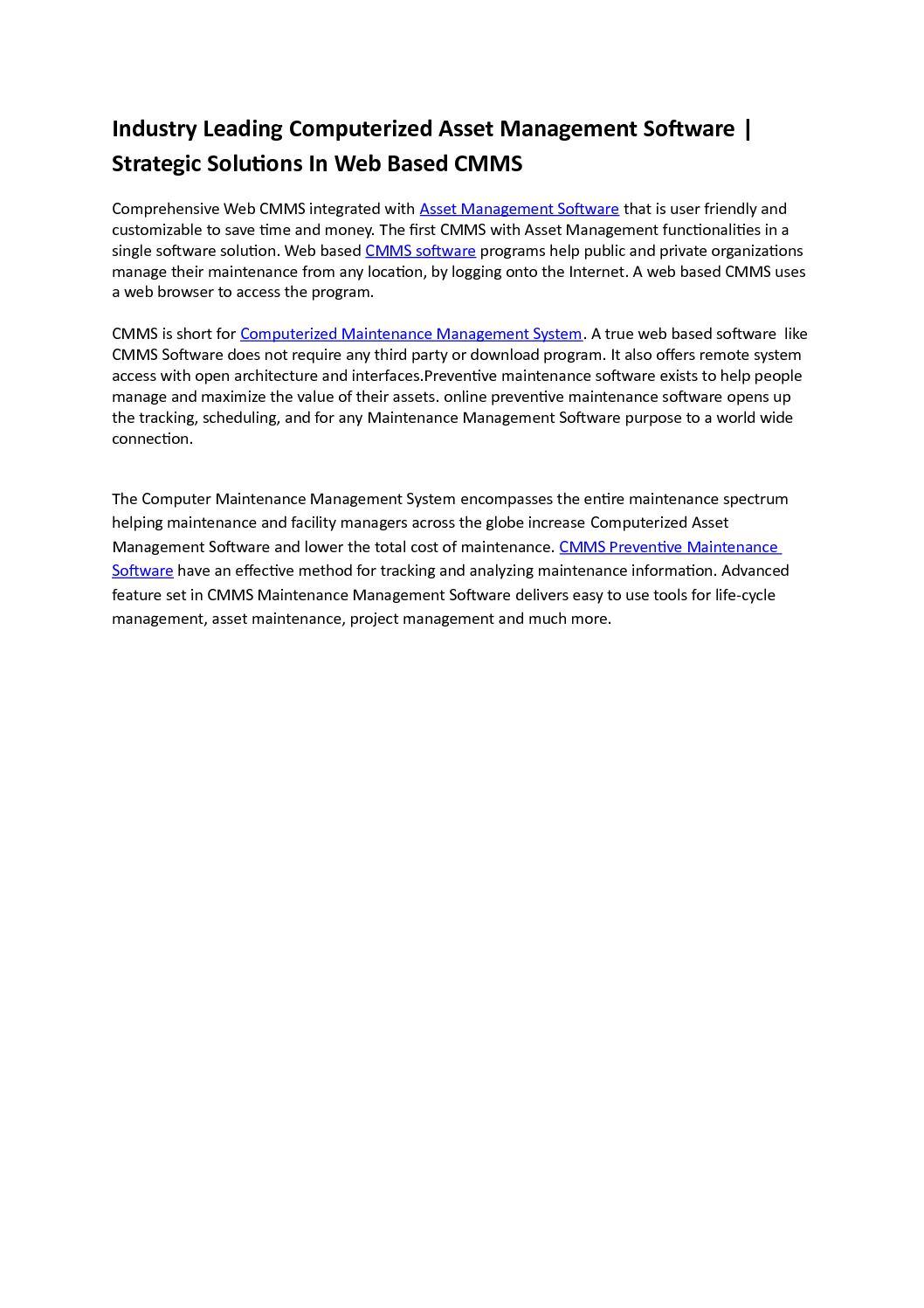 Calaméo - CMMS an Asset Maintenance Management Software