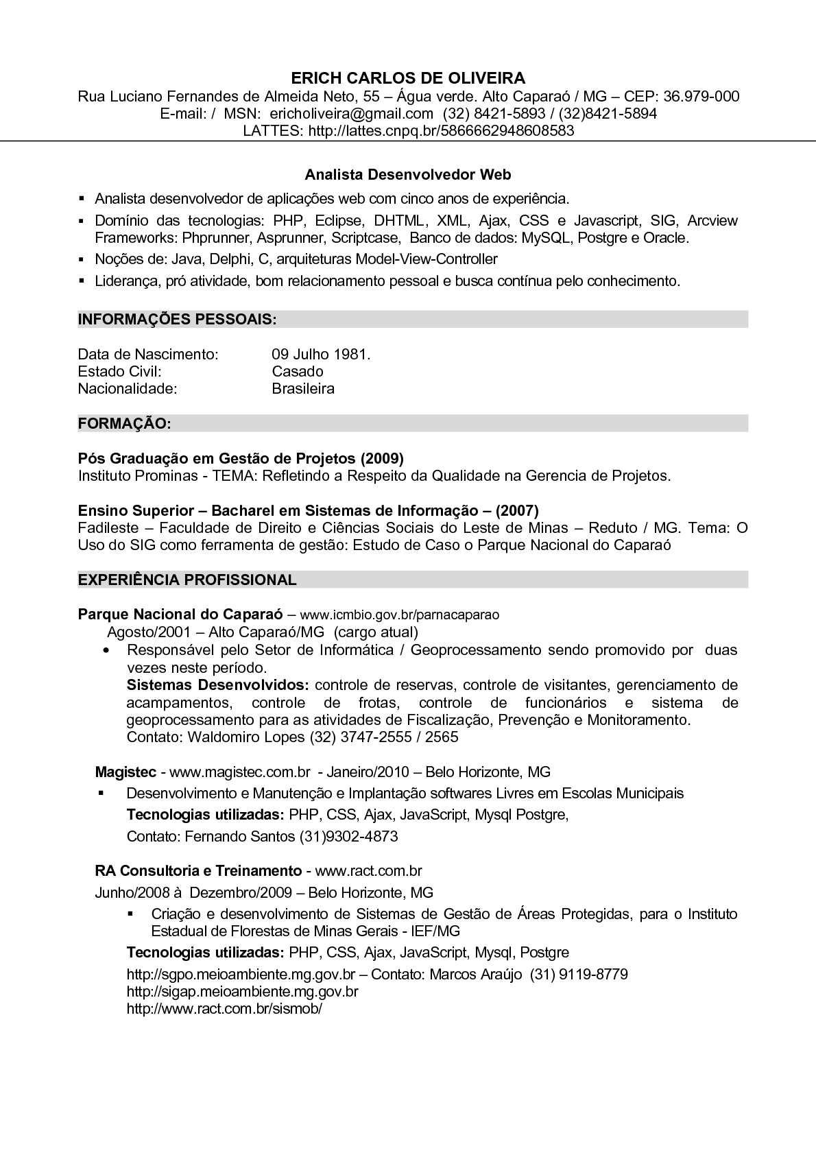 Calaméo - Curriculo Erich Oliveira - Analista de Sistemas