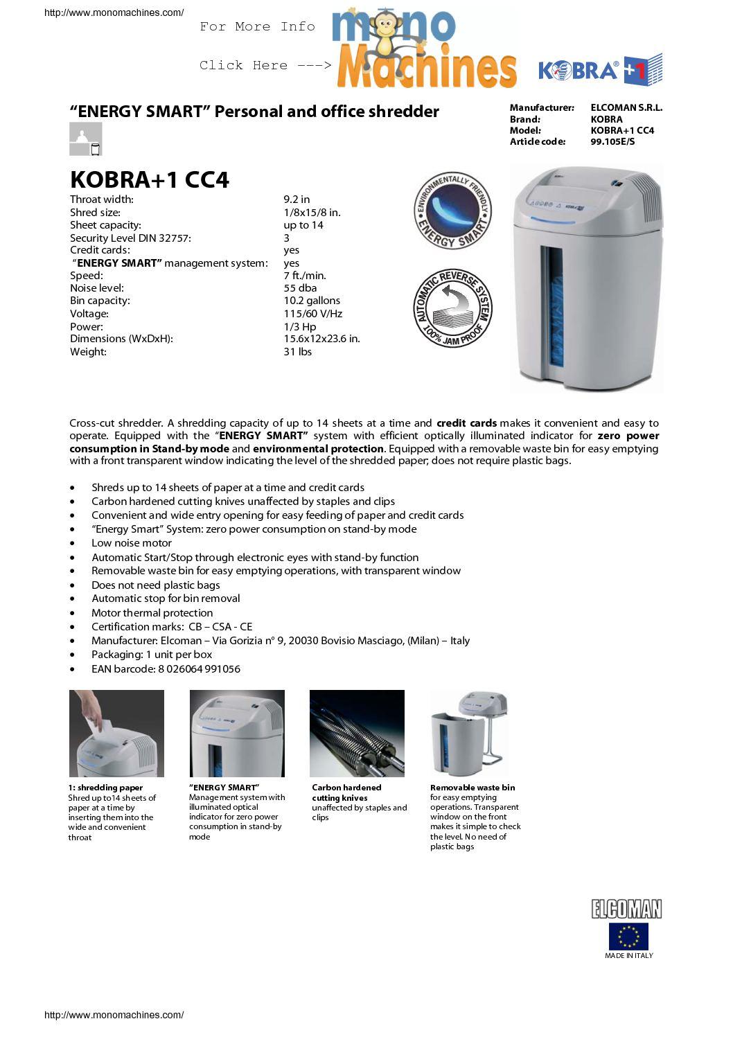 Calaméo - Kobra +1 CC4 Cross Cut Shredder Specs
