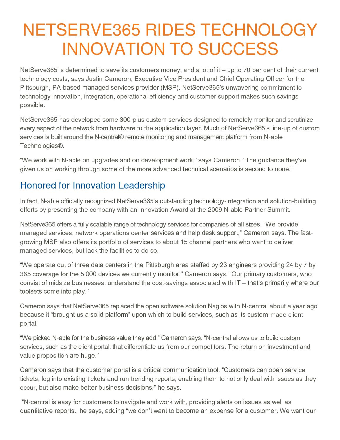 Calameo Netserve365 Rides It Technology Innovation To Managed Services Success
