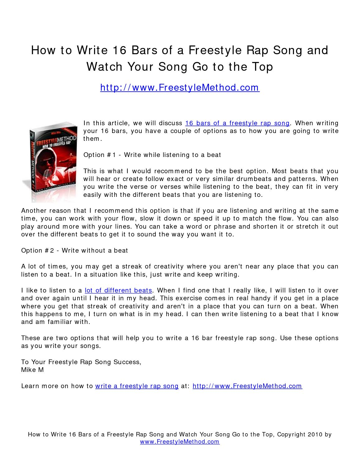 how to write a rap over a beat