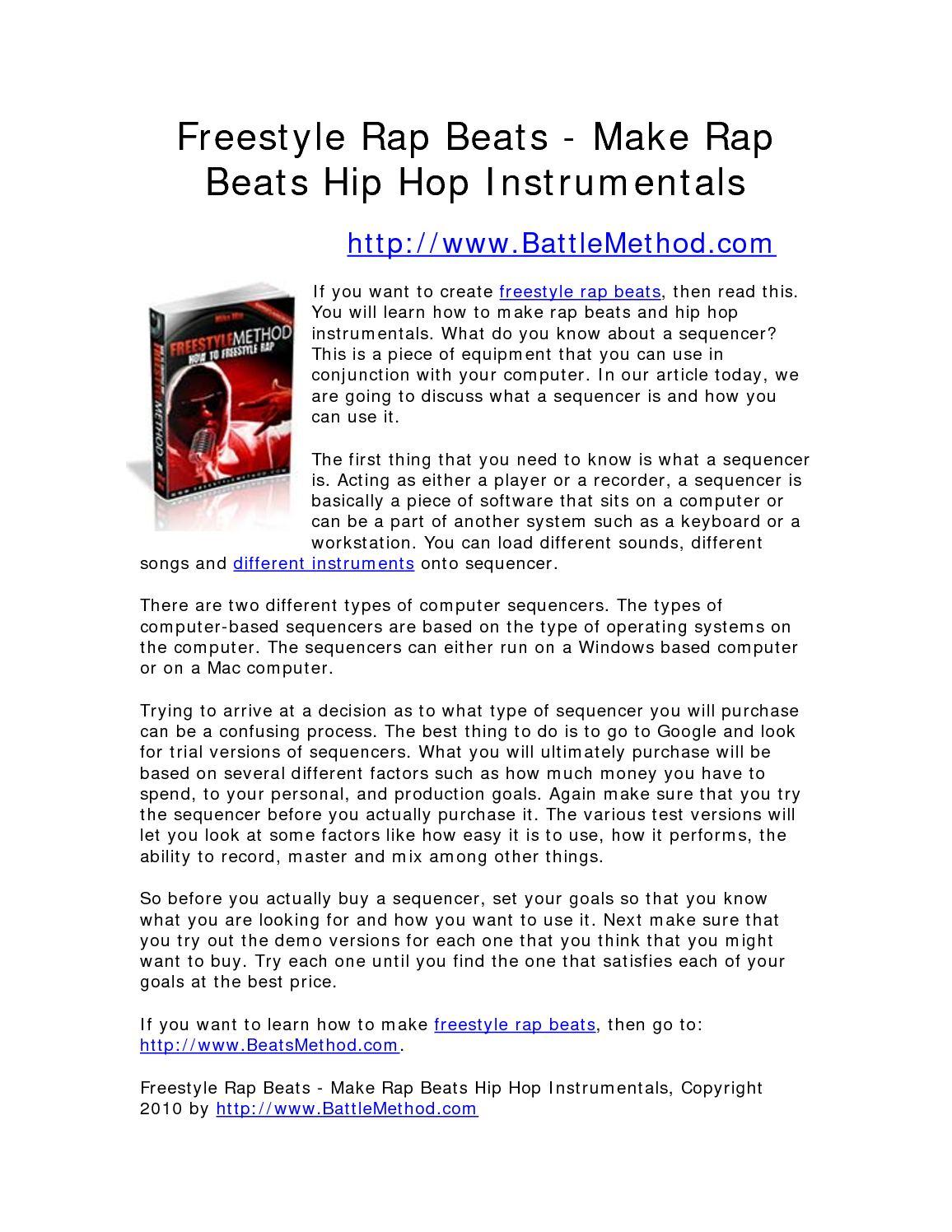 Calaméo - Freestyle Rap Beats - Make Rap Beats Hip Hop