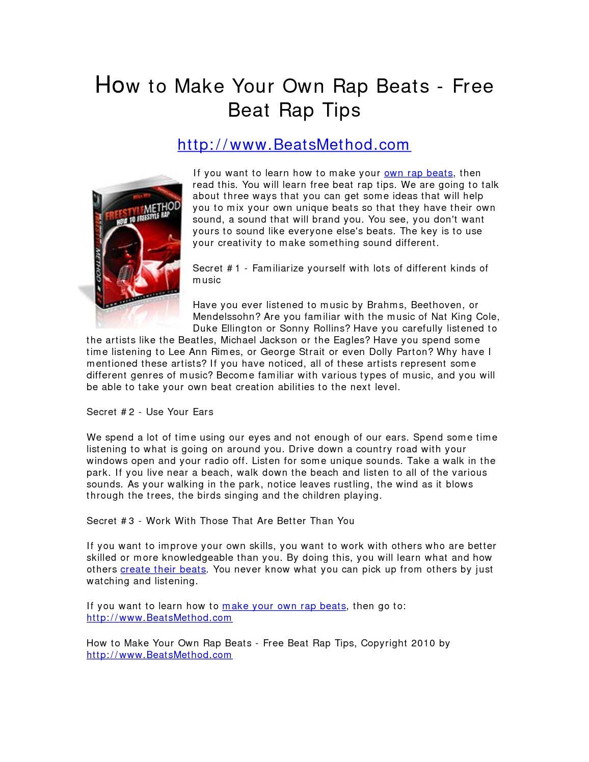 Calaméo - How to Make Your Own Rap Beats - Free Beat Rap Tips